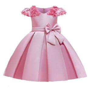 DHgate girl's big bow vestido infantil elegant for girls evening party dresses kids wedding girl princess birthday dress c0223