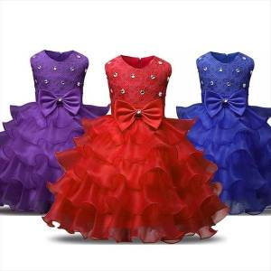 DHgate christmas girl flower beading dresses wedding evening children clothing year party kids for girls clothes wear