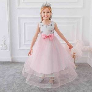 DHgate girl's dresses summer evening for girls kids clothes children bow girl party and wedding prom bridesmaid long floor princess dress 8 12