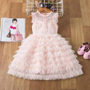 DHgate brand summer kids princess for girl dresses girls sleeveless sequines evening party toddler baby clothes 3y 8y
