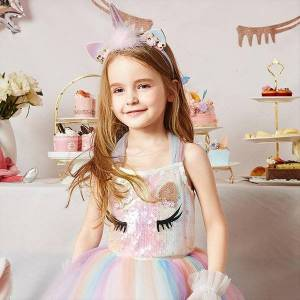 DHgate sequin unicorn for girls girl dresses 3 8 years wedding evening children clothes kids birthday party princess costume