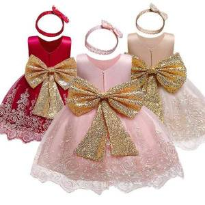 DHgate dresses for girls lace kids princess dresses for wedding blackless elegant evening gown big bow children party clothing for 1-5y