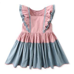 DHgate girl's dresses summer kid clothing lotus leaf sleeve stitching color for girls princess evening 68ih