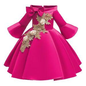 DHgate kids christmas dresses for girls princess flower wedding dress children formal evening party pure red