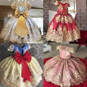 DHgate girl christmas red for party dresses kids wedding bow knot vestido evening prom gown children years tulle fabrics costume