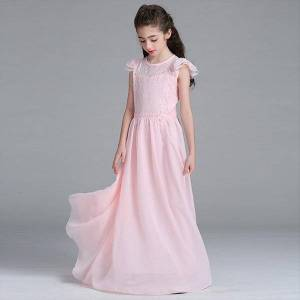 DHgate retail trendy girls evening girl dresses chiffon long prom bridal lace heart neck children wedding costumes lace005