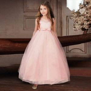 DHgate flower girl wedding evening children dresses clothing princess party long gown 6 14 years teenager girls lace embroidery formal dress