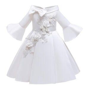 DHgate kids christmas dresses for girls princess flower wedding dress children formal evening party pure white