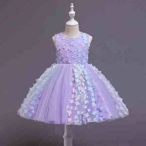 DHgate girl's dresses for wedding puffyskirt three-dimensional flowers children birthday evening dress casual girls clothing 1023