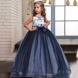 DHgate girl's flowers formal party long evening girl kids dresses for girls bow princess birthday wedding dress 8 10 12 years c0223