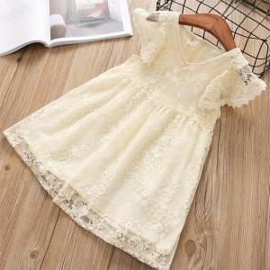 DHgate girls lace petal sleeves kids girl dresses for summer elegant princess wedding evening party children clothes