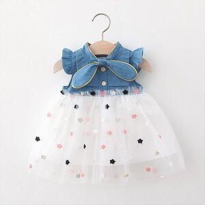 DHgate infant baby girls kids princess girl dress gauze star denim outfits clothing sleeveless crew neck with bow sukienki