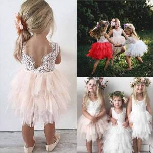 DHgate embroidery lace baby girl flower dress mesh ball gown wedding evening toddler girls clothes infant party princess dresses