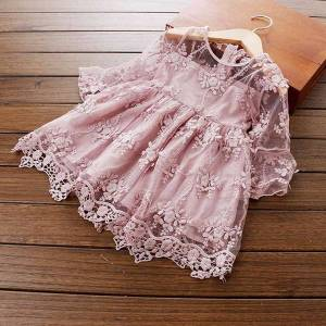 DHgate classic lace flower girls clothes kids dresses for girls wedding evening vestidos 3-8 years princess birthday party children clothing