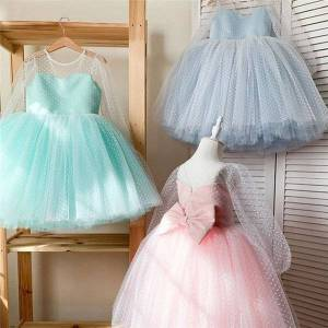 DHgate wedding party dress for girls polka-dot flower children's dresses evening communion backless elegant gown kids princess dresses,