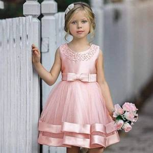 DHgate 2021 bow beading wedding dresses for girls evening party bridesmaid childrens clothing princess dress prom costume 8 10 years