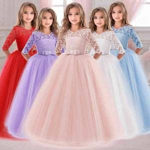 DHgate girl's summer long sleeve girl party wedding kids dresses for girls children evening lace princess dress 10 12 years c0228