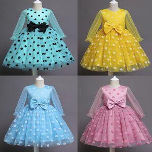 DHgate children dresses for wedding polka dotted flower tulle princess dress for girl bow elegant evening party gown tutu girl vestidos