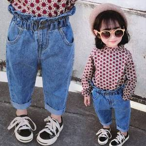 DHgate girls jeans kids autumn spring clothes trousers children denim pants for baby girl button toddlers 80~140 winter