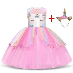 DHgate classic unicorn party princess dress birthday children clothes kids dresses for girls wedding evening clothing fancy girls dress up