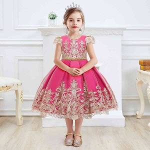 DHgate classic embroidery chirstmas year girls dress princess evening clothing kids dresses for girls birthday party dress robe fille 4 8t