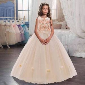 DHgate girl's bridesmaid party wedding kids dresses for children clothing evening princess dress child girl 10 years old c0228
