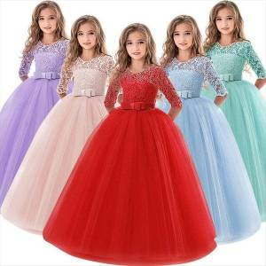 DHgate 6 14 years flower lace girl dress girls clothes princess party pageant long gown kids dresses for wedding evening clothing