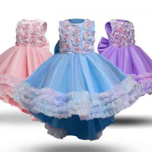DHgate classic appliques flower girls dress summer sleeveless dresses formal party children clothes wedding evening princess long prom gown