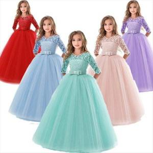 DHgate kids bridesmaid flower girls girl dresses wedding for evening party teenage children princess 8 10 12 14 years