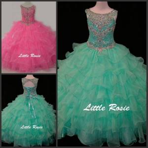 DHgate little rosie kids evening gowns scoop neck crystal beadings rhinestone diamonds mint green children pageant gowns girls ball gown prom dress