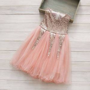 DHgate girls 3 to 8 years sequined summer dresses, children party/wedding/dance tutu clothes, baby kids boutique clothing, r1es505ds-44