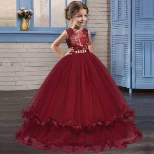 DHgate retail long diamond embroidered flower girl dresses for wedding 5-14y kids designer dress girls piano costume princess dress boutique cloth