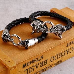 DHgate link, chain vintage gothic skull wrap bangle double wolf head bracelet men stainless steel biker jewelry braided leather mens cuff bracelets