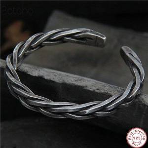 DHgate 2020 s925 sterling silver chiang mai handmade retro thai silver vintage style twist rope male and female open ended bangle gift