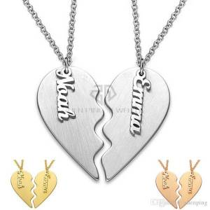DHgate valentine's day gift personalized classic breakable heart custom couple necklace stainless steel two half of a single heart name pendan