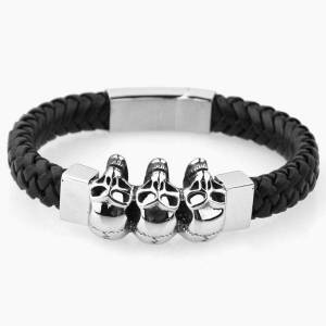 DHgate stainless steel leather bracelets & bangles double black layers cowhide braid rope gothic skull skeleton men jewelry 225mm