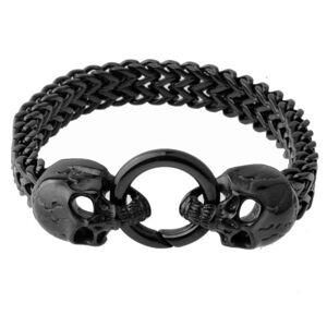DHgate cool men's black two skull skeleton heads bracelet jewelry 316l stainless steel bangle 12mm charm bracelets