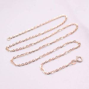 DHgate real 18k rose gold necklace women luck rolo o chain necklace 15.7inch 1.8mmw 1.8-2g