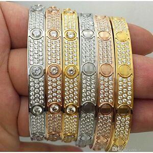 DHgate titanium fashion luxury full diamonds stainless steel womens mens designer iced out bracelets cuff bangles screwdriver bracelet