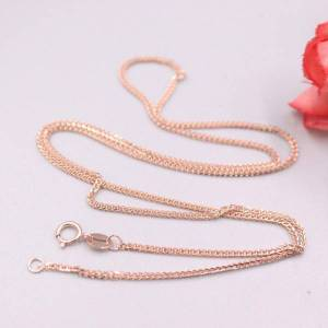 DHgate real 18k rose gold necklace women luck wheat chain necklace 17.7inch 1mmw 2.5-3g