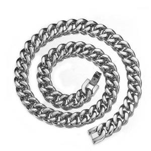 "DHgate selling 15mm stainless steel curb cuban necklace for men/women silver curb chain necklace fashion jewelry 7-40""1"