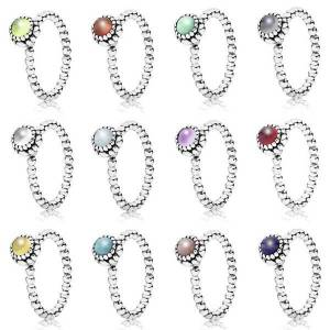 DHgate high-quality 100% s925 sterling silver december new 1: 1 birthday stone ring zircon pink peridot gray garnet multicolor choice