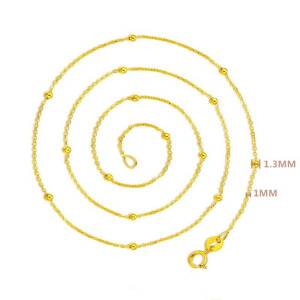 DHgate au750 pure 18k yellow gold necklace women luck smooth beads with o chain necklace 20inch 1.2-1.5g