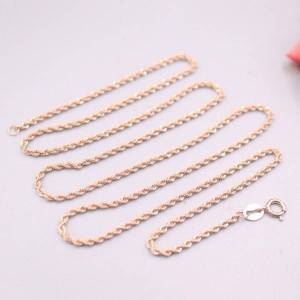 DHgate fine jewelry real 18k rose gold necklace woman gift luck rope chain necklace 19.6inch 1.5mmw 1.5-2g