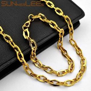 DHgate sunnerlees 316l stainless steel necklace bracelet set 6.5mm geometric link chain gold high polished men women gift sc183 s1
