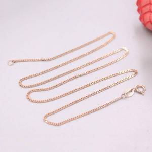 DHgate real 18k rose gold necklace women luck curb tank chain necklace 15.7inch 1.1mmw 2.1-2.5g