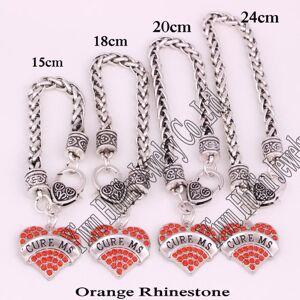 DHgate cure ms heart 1set/4pcs awareness alert 15cm18cm20cm24cm wheat chain lobster claw bracelet