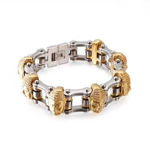 DHgate link, chain fashion punk buddha / skull charm bracelet for men 316 stainless steel bike bangle jewelry male rock accessories