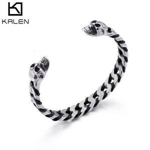 DHgate bangles bracelet fashion domineering skull men's woven leather stainless steel jewelry