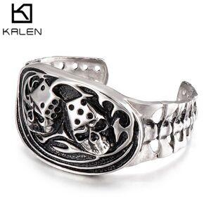 DHgate bangles bracelet personality punk stainless steel jewelry domineering skull titanium men's open